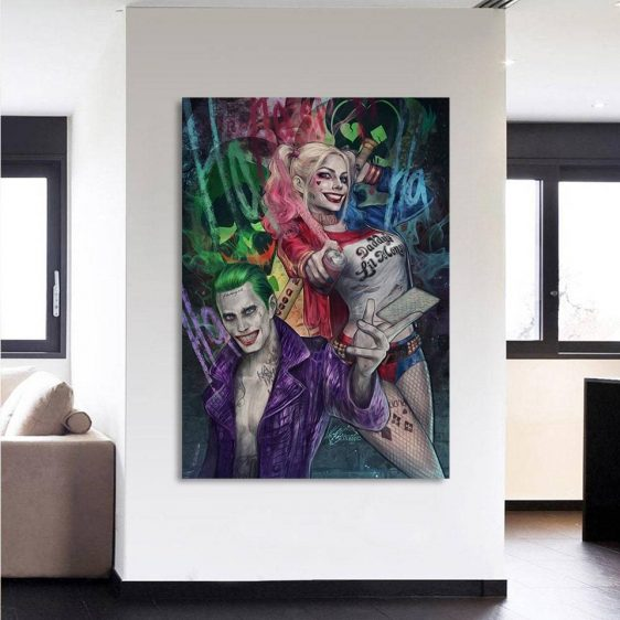 Harley Quinn And Joker Smiling Colorful 1pc Vertical Canvas