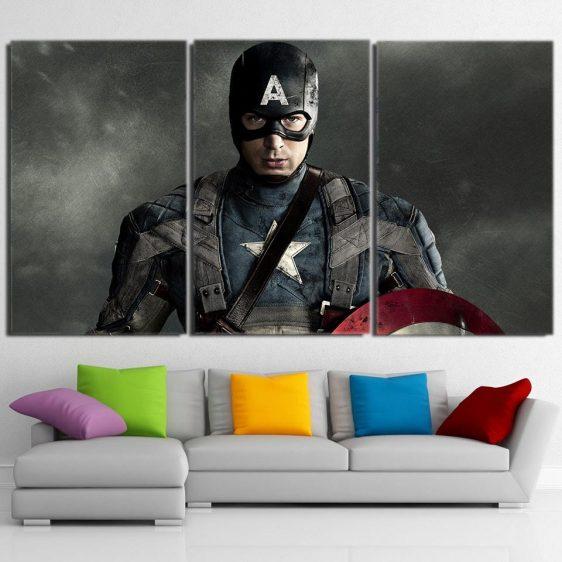 Chris Evans Captain America Portrait 3pcs Canvas Horizontal