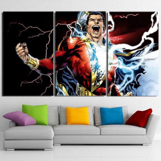 Captain Marvel Superhero Electric 3pc Wall Art Canvas Print