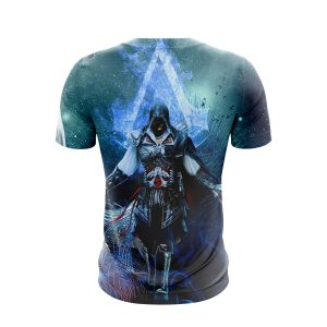 Assassin's Creed Ezio Epic Vibrant Blue Flame Design T-Shirt