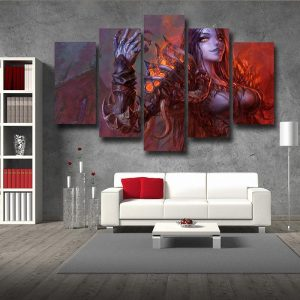 Diablo 3 Fan Art Demon Lord Female Version Game 5pc Wall Art Prints - Superheroes Gears