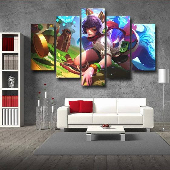 League of Legends Ahri Female Fighter Lively Color Art Style 5pc Wall Art - Superheroes Gears