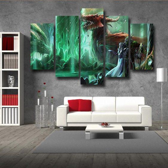 World of Warcraft Elf Dragon Fantasy Gaming Art 5pc Wall Art Prints