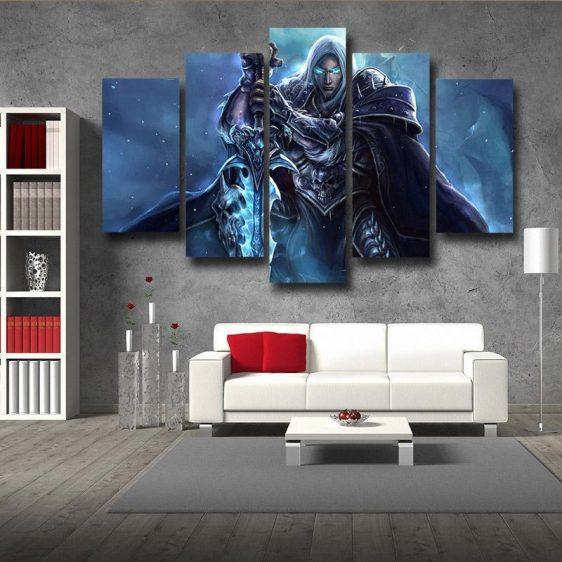 World of Warcraft Frozen Throne Arthas Cool 5pc Wall Art Canvas Prints