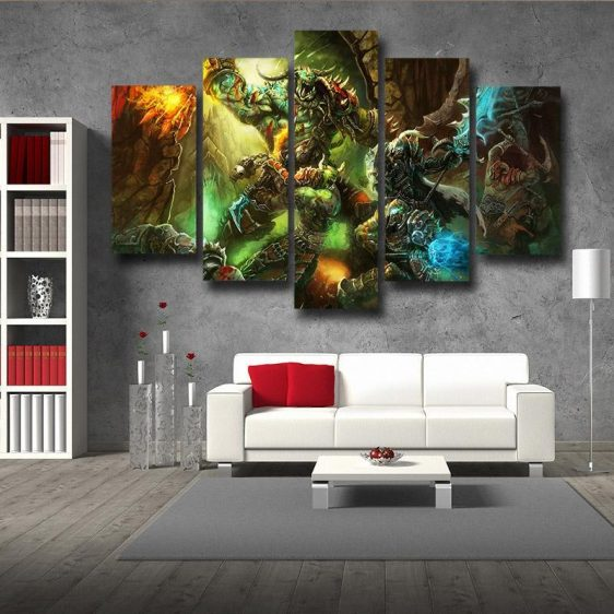 World of Warcraft Orcs Warrior Fight War Fan Art 5pc Wall Art Prints