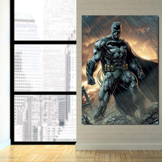 Angry Batman Standing Under The Rain Full Print 1pc Wall Art Canvas - Superheroes Gears