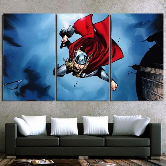 Thor Cartoon Flying Holding Hammer On Fight 3pcs Canvas Horizontal