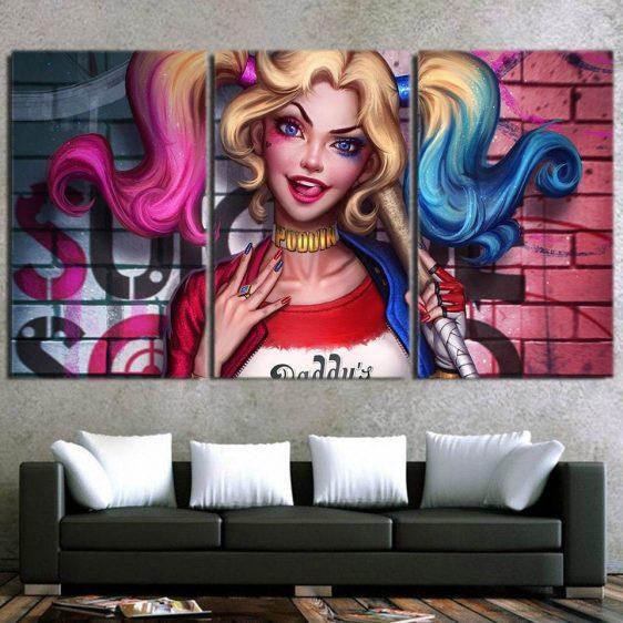 Suicide Squad Harley Quinn Half Portrait 3pcs Horizontal Canvas