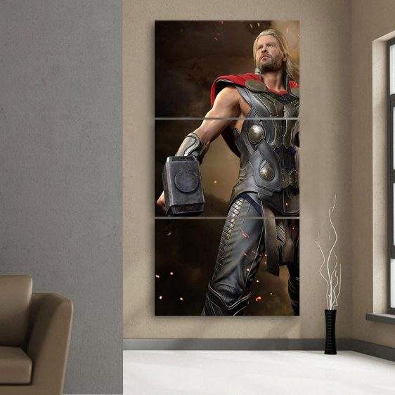 Thor Real Big Standing Nice On Fight Cool 3pcs Canvas Vertical