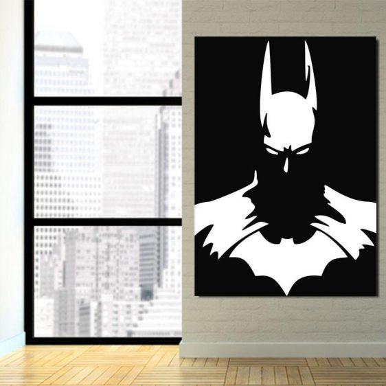 White Batman Superhero Thug Print On Black 1pc Canvas Wall Art