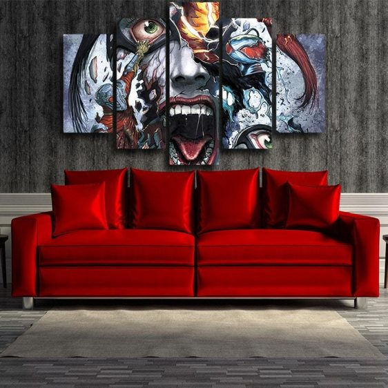 Harley Quinn Face Realistic Doodle Art Design 5pcs Canvas Wall Art
