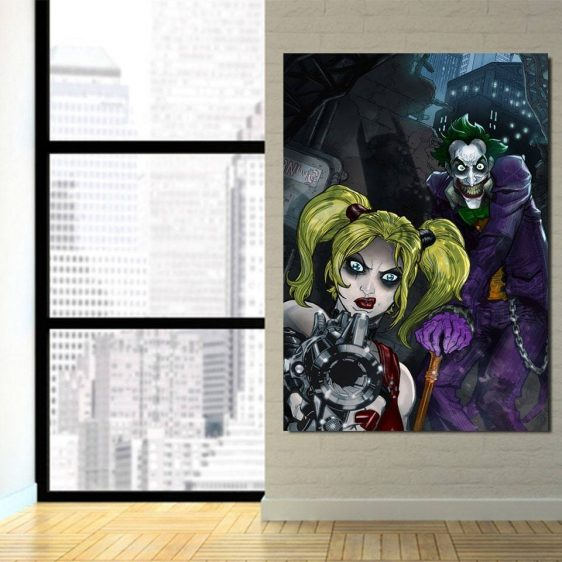 DC Comics Joker Harley Quinn Attacked On Dark 1pc Vertical Canvas