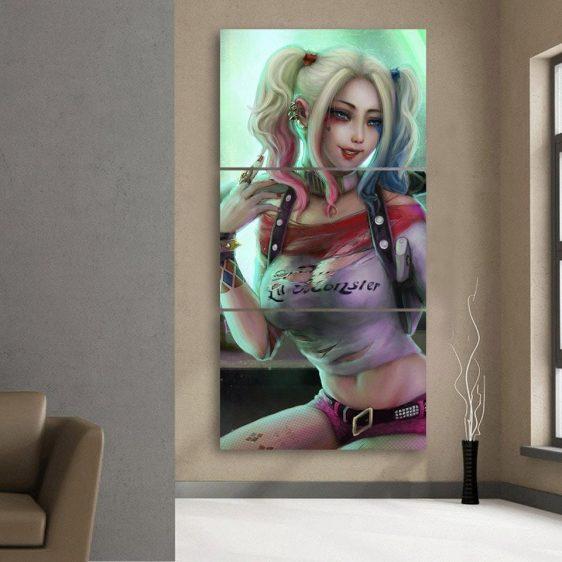Harley Quinn Suicide Squad DC Comics Pose 3pcs Vertical Canvas