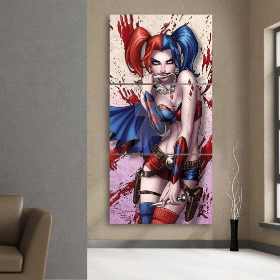 Harley Quinn Biting Knife Blue Cape Cool 3pcs Vertical Canvas