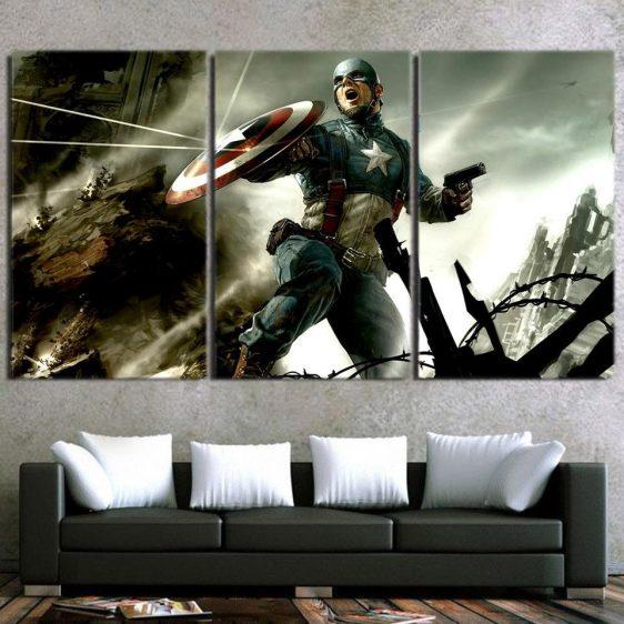Triggered Captain America War Fighting 3pcs Canvas Horizontal