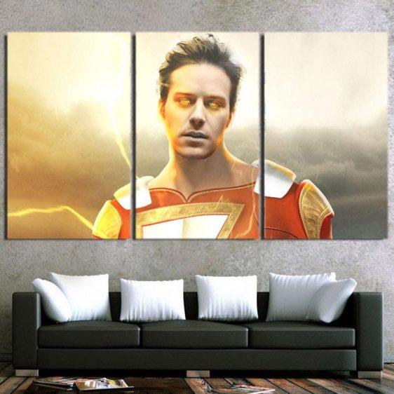 DC Comics Shazam Billy Batson Portrait 3pc Wall Art Canvas Print