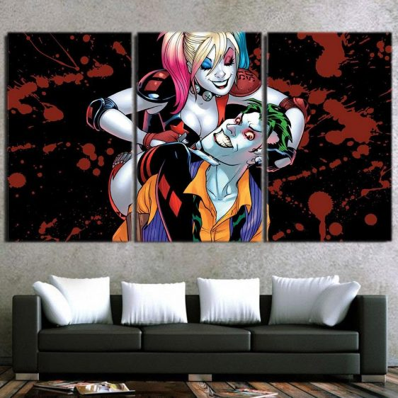 Harley Quinn Joker Scary Smile Suicide Squad 3pcs Horizontal Canvas