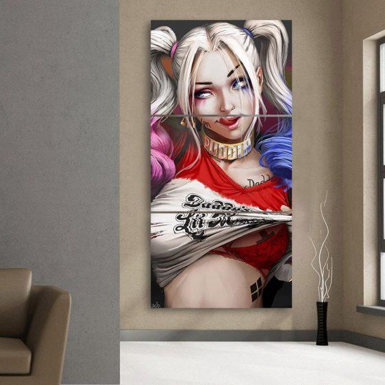 Harley Quinn Half Body Portrait 3D Cool 3pcs Vertical Canvas