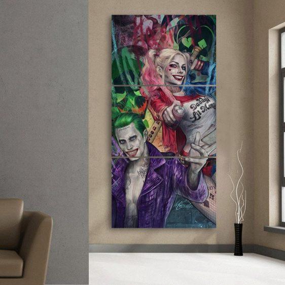 Harley Quinn Joker Smiling Colorful Print 3pcs Vertical Canvas