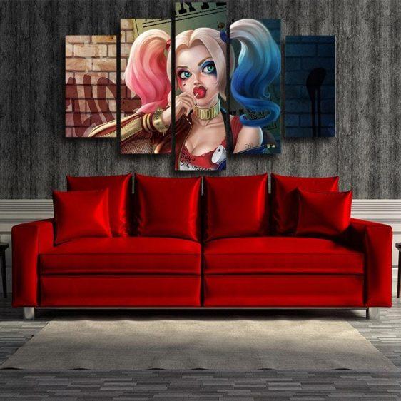 Harley Quinn Half Body Portrait 3D Cool Print 5pcs Canvas Wall Art