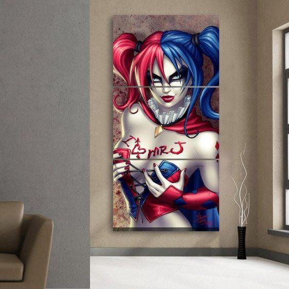 Harley Quinn I Love Mr Joker Red Tattoo Cool 3pcs Vertical Canvas