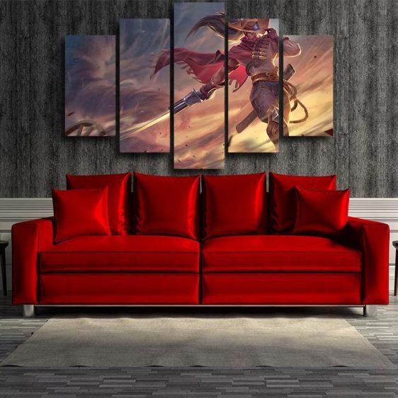 League of Legends High Noon Yasuo Swordsman Pastel 5pc Wall Art