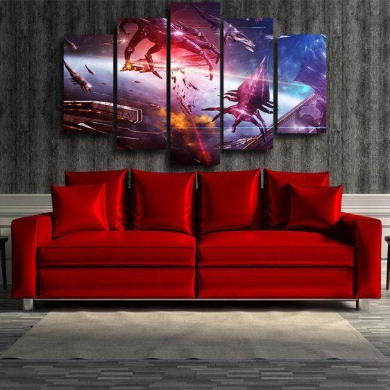 Mass Effect Reaper Battle Spaceship Cool Game 5pc Wall Art Canvas Prints