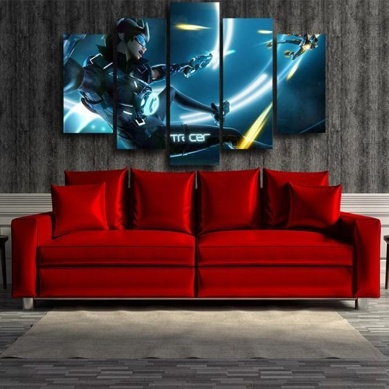 Overwatch Tracer Cadet Oxton 5pc Wall Art Decor Canvas Prints