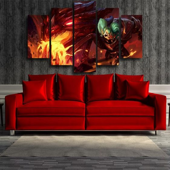 World of Warcraft Cataclysm Deathwing 5pc Wall Art Canvas Prints