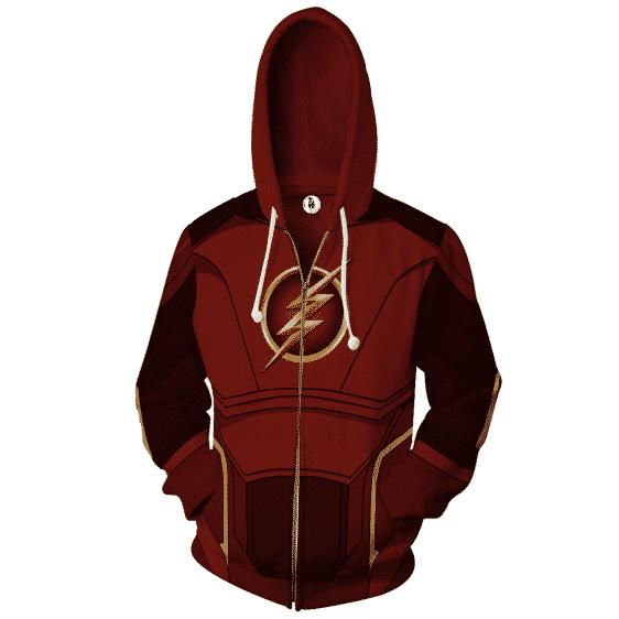 DC Comics The Flash Hero 3D Cosplay Maroon Zip Up Hoodie