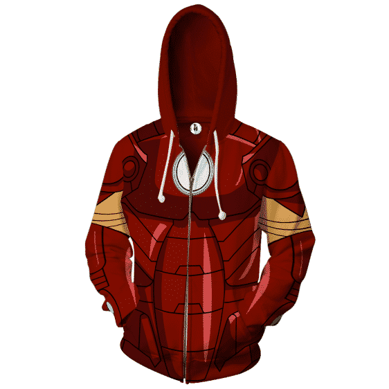 Marvel Iron Man Superhero 3D Cosplay Red Zip Up Hoodie
