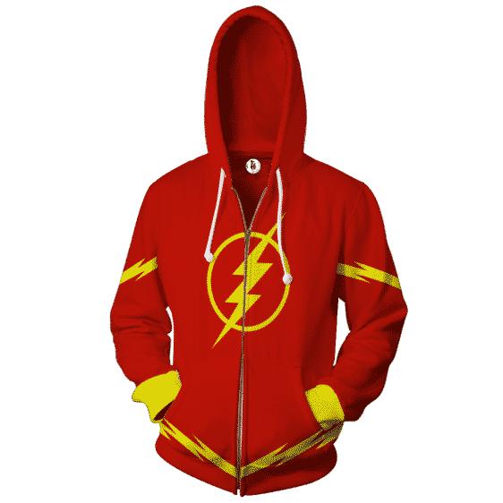 The Flash Superhero 3D Cosplay Red Zip Up Hoodie