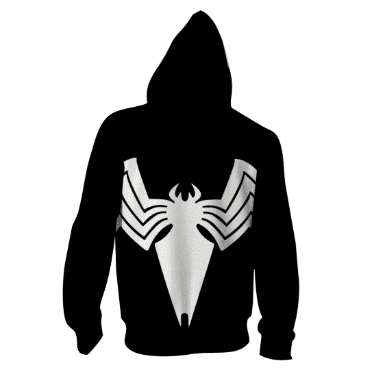 White Spider-Man Super Hero 3D Cosplay Black Zip Up Hoodie