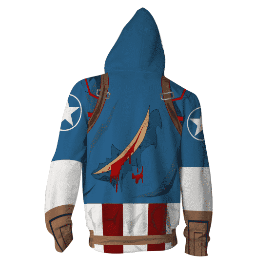 Marvel Comics Captain America Hero 3D Cosplay Zip Up Hoodie