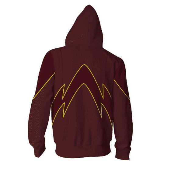 Red-Maroon The Flash Logo 3D Cosplay Zip Up Hoodies