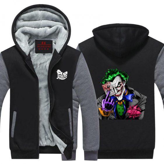 The Joker Holding Card Dope Posture Print Hooded Jacket