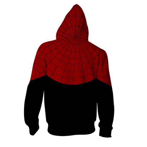 Powerful Spider-Man Hero 3D Cosplay On Black Zip Up Hoodie