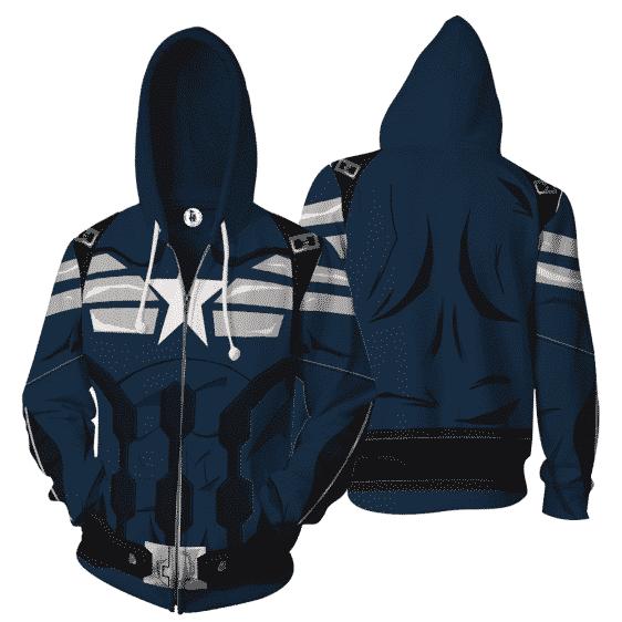 Captain America Hero 3D Cosplay Navy Blue Zip Up Hoodie
