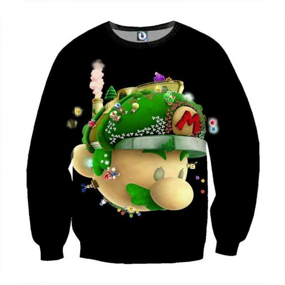 Super Mario Floral Head Nintendo 3DS Gaming Design Sweatshirt