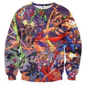 Justice League Fighting The Avengers Scene Full Print Sweatshirt - Superheroes Gears