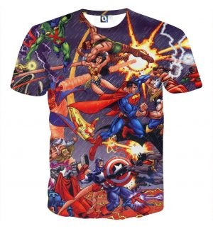 Justice League Fighting The Avengers Scene Full Print T-Shirt - Superheroes Gears
