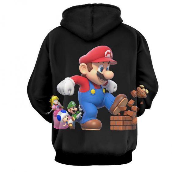 Super Mario Giant Luigi Bros Toad 3D Design Print Hoodie
