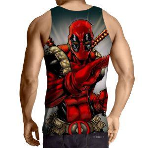 Deadpool Wielding A Knife Fighting Amazing Design Tank Top - Superheroes Gears