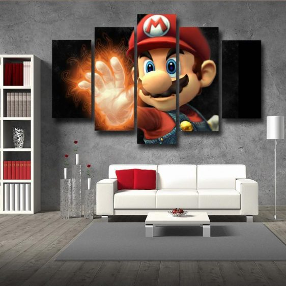 Super Mario Fire Gloves 5pc Wall Art Posters Canvas Prints