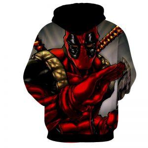 Deadpool Wielding A Knife Fighting Amazing Design Hoodie - Superheroes Gears