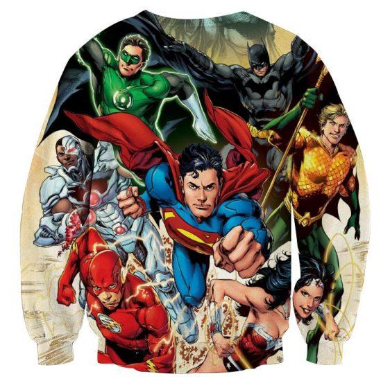 Justice League Superheroes Cool Team Art 3D Printed Sweatshirt - Superheroes Gears