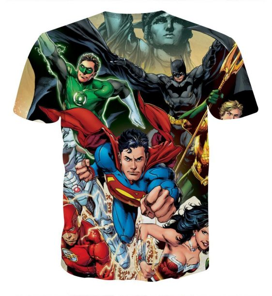 Justice League Superheroes Team Cool Art Full Print T-Shirt - Superheroes Gears