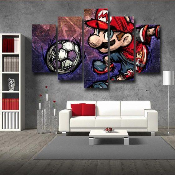 Super Mario Sketch Hip-Hop 5pc Wall Art Posters Canvas Prints
