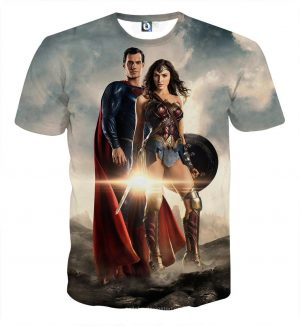 Dawn Of Justice Superman and Wonder Woman Full Print T-Shirt - Superheroes Gears