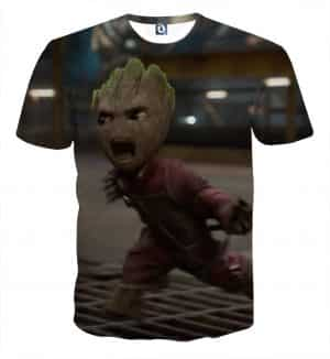 Guardians of the Galaxy Angry Baby Groot 3D Print Design T-shirt - Superheroes Gears